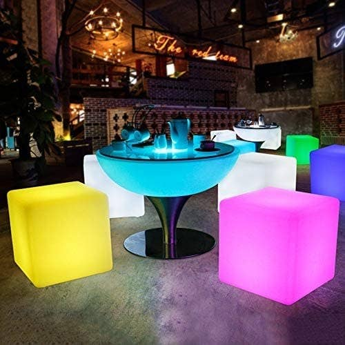 the stools around a table