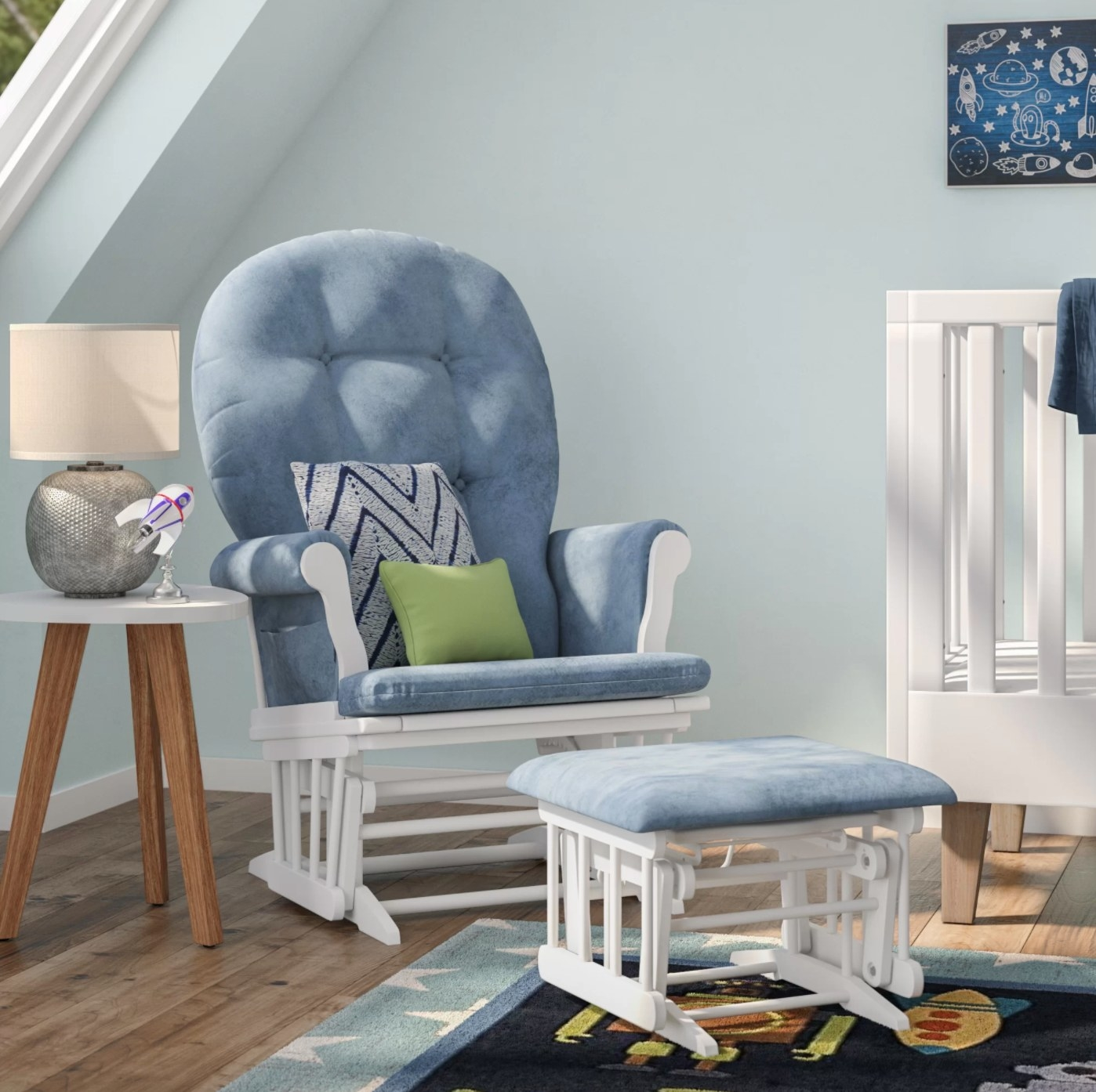 the glider and ottoman in blue and white