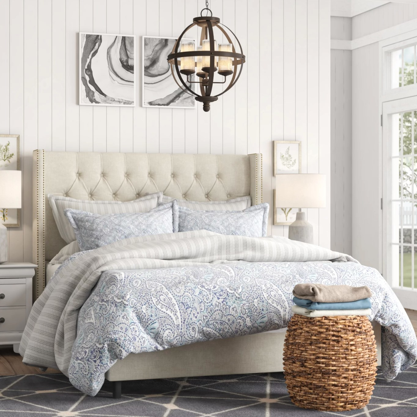 the linen low profile bed in linen talc