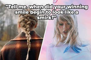 A shot of Taylor Swift's back while she wears a black and orange plaid jacket with a long French braid. And Taylor Swift looks down with a pink glitter heart around one eye as she stands against a cotton candy colored sky.