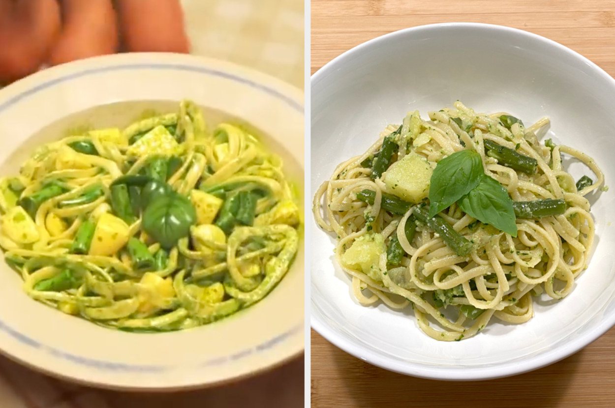 Comparison of the movie's pasta and my pasta, which looks very similar