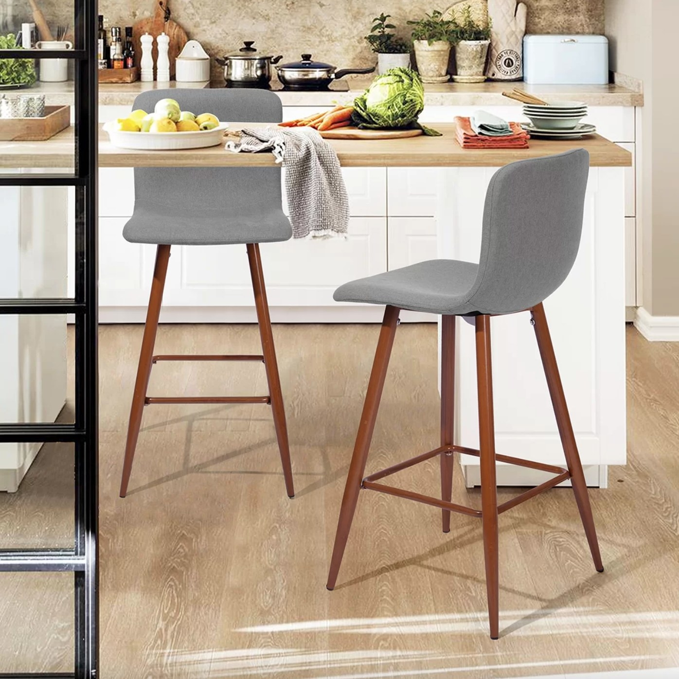 the set of two bar and counter stools in gray