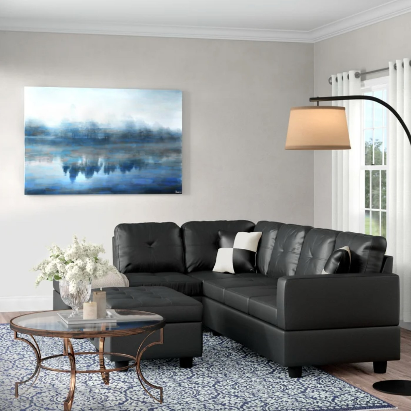 the righthand facing sofa in black