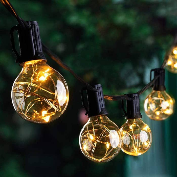the light with string lights in the bulbs