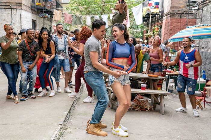 Anthony Ramos and his co-stars dancing outside