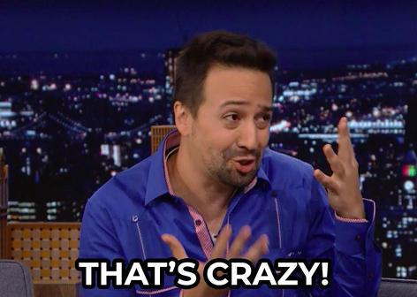 """Lin-Manuel Miranda emphatically shaking his head and saying, """"that's crazy!"""""""