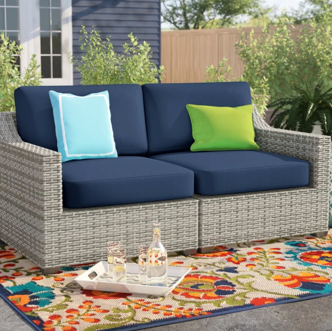 the wide outdoor seat in navy