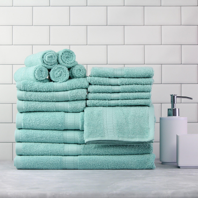 the 18-piece set of towels in aqua