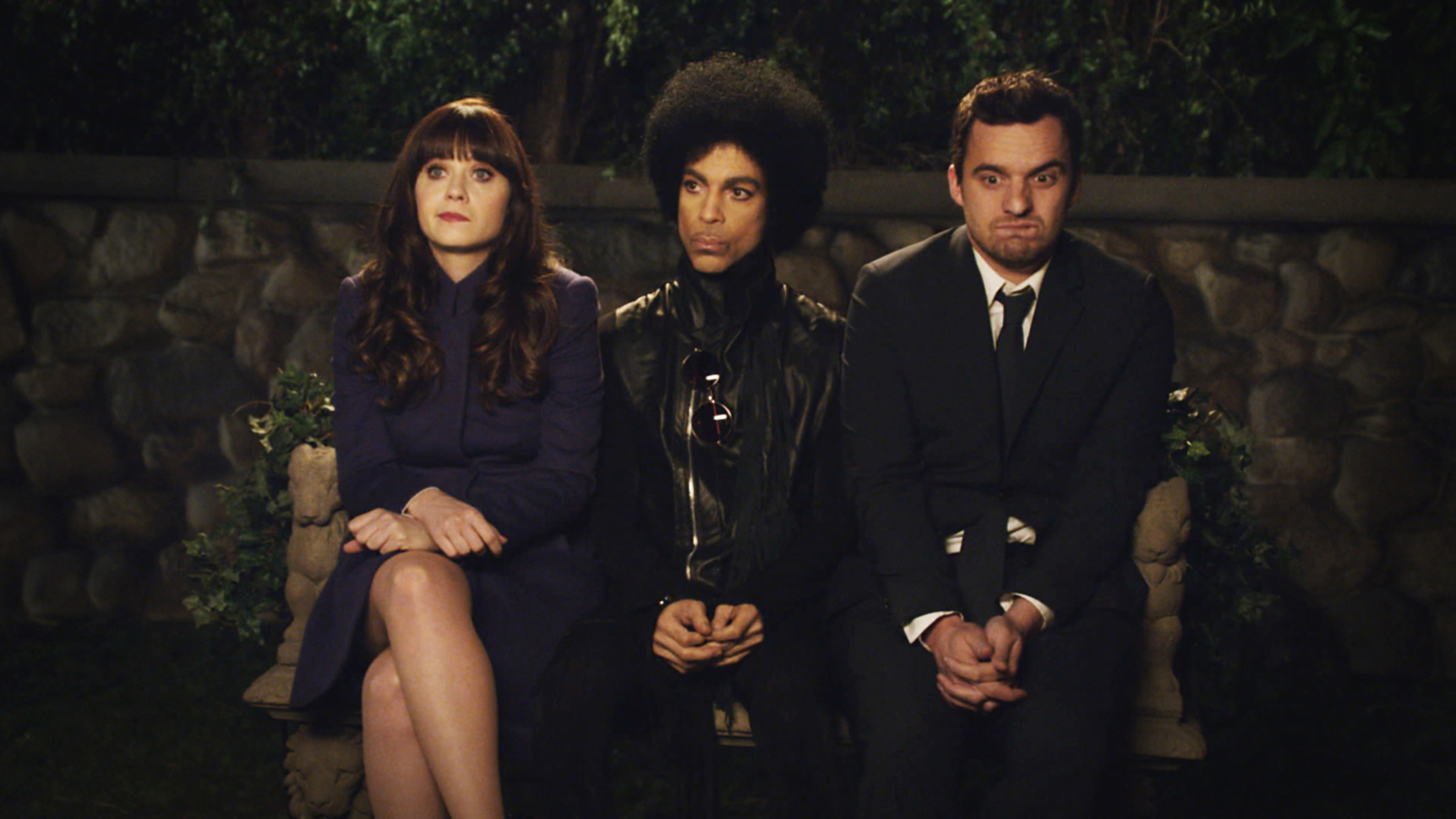 Zooey Deschanel, Prince, and Jake Johnson during Prince's episode
