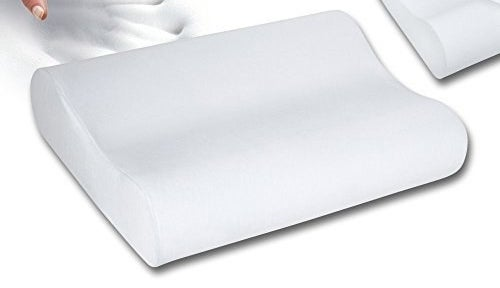 A contoured memory foam pillow in white.