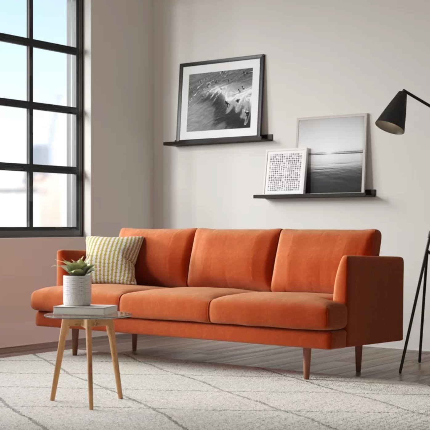 the recessed arm sofa in stax rust with wood legs
