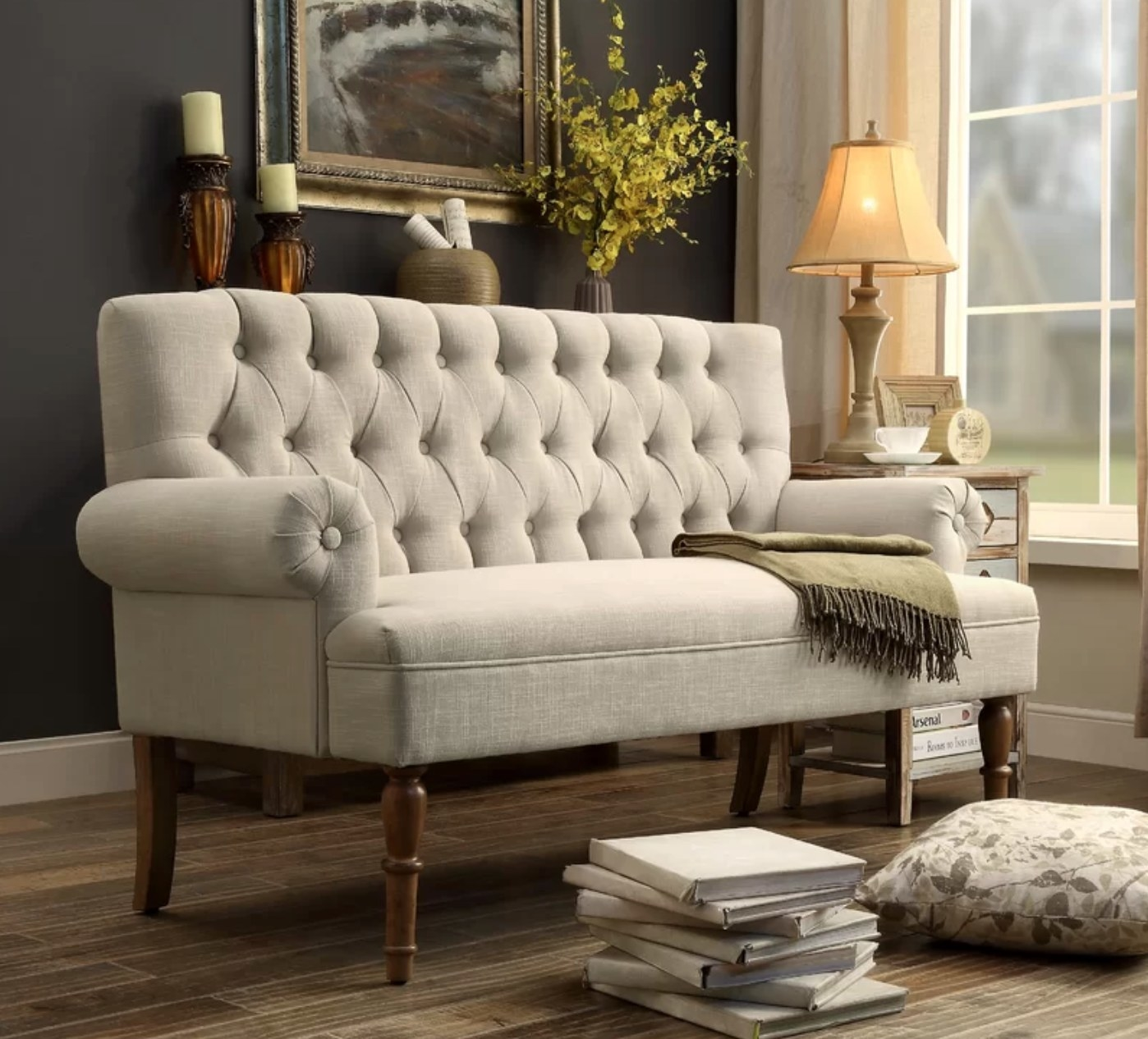 the rolled arm sette in beige linen