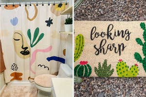 an abstract shower curtain a welcome mat that reads looking sharp with cactus on it