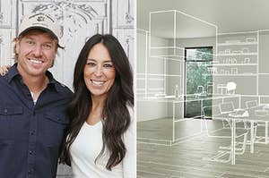 chip and joanna gaines on the left and an empty room with a drawing of furniture over it on the right