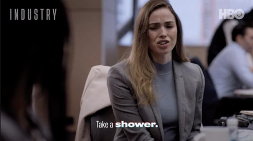 """Woman saying, """"Take a shower"""""""