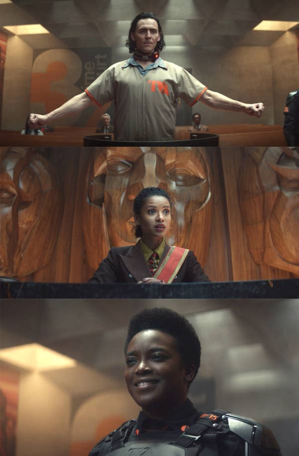 Wunmi and Gugu would catch each other's eyes and try not to laugh, when Loki tries to use his magic in the courtroom but cannot, in Episode 1.