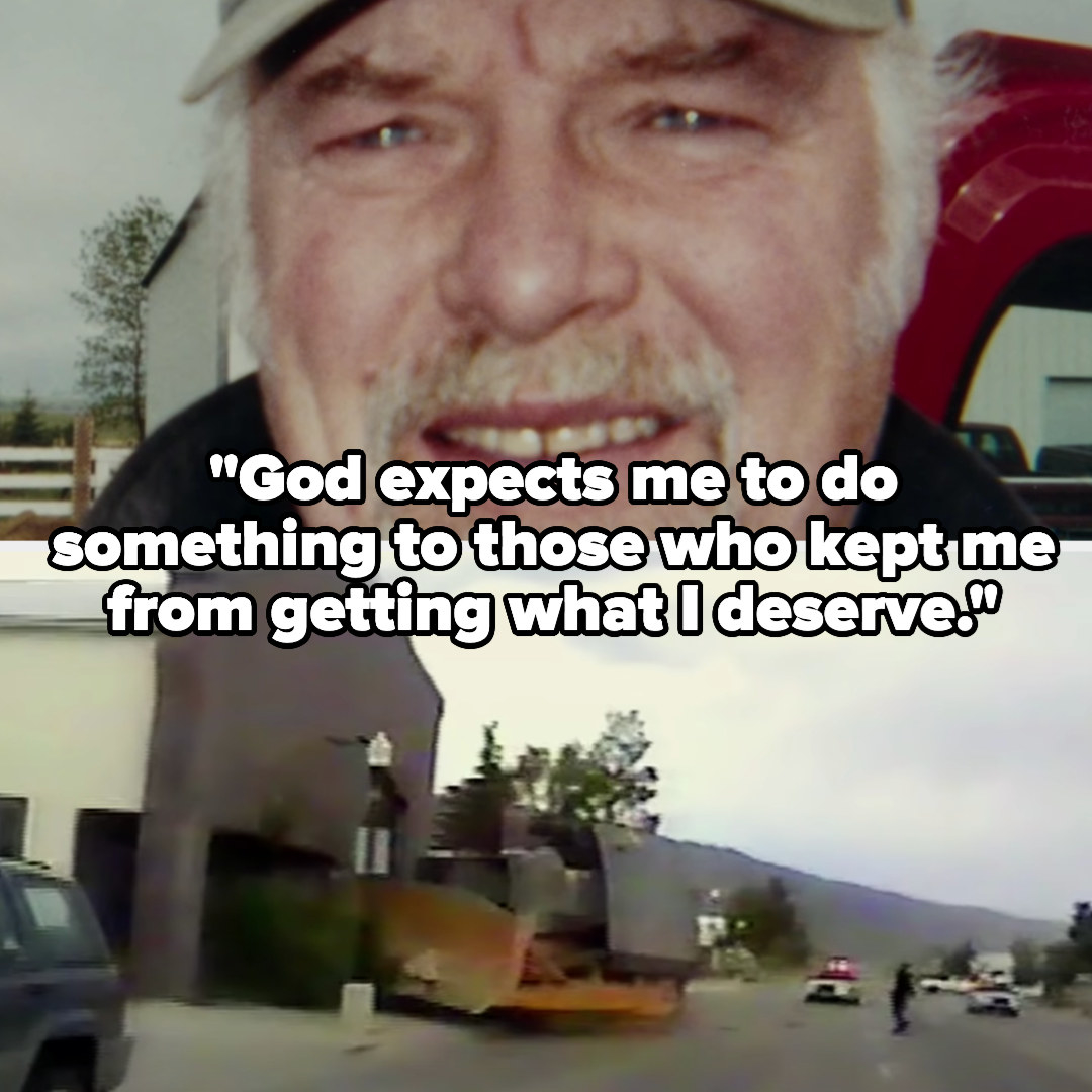 """Marvin Heemeyer says """"God expects me to do something to those who kept me from getting what I deserve"""" as we see his tank run into a building"""