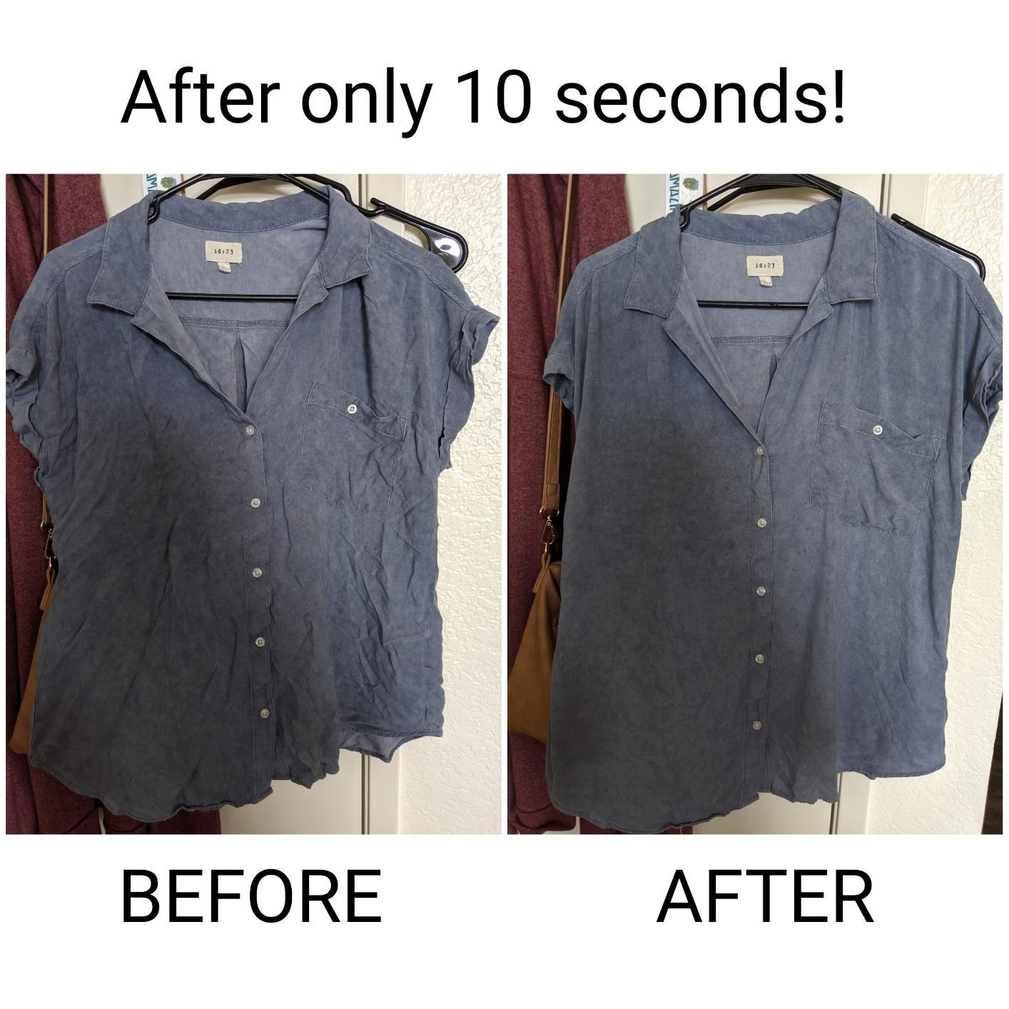 a shirt with wrinkles before the spray and after the spray with no wrinkles