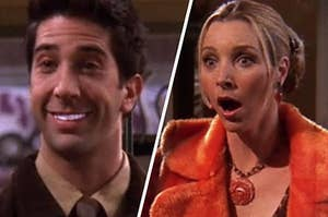 Ross shows off his blinding white teeth while Phoebe stands with her mouth open in shock.