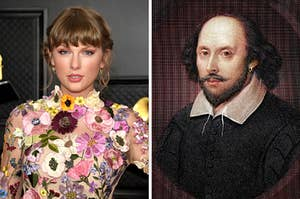On the left, Taylor Swift, and on the right, William Shakespeare