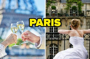 """A couple is on the left holding champagne with a woman in a wedding gown looking over the bannister """"PARIS"""""""