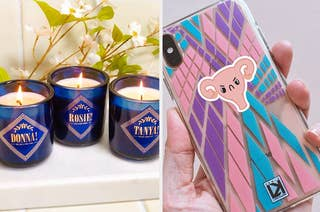 mamma mia inspired candles and an angry uterus sticker