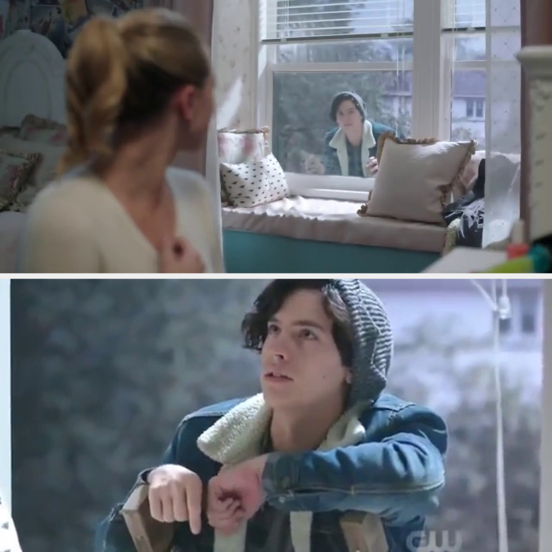 Jughead showing up at Betty's window