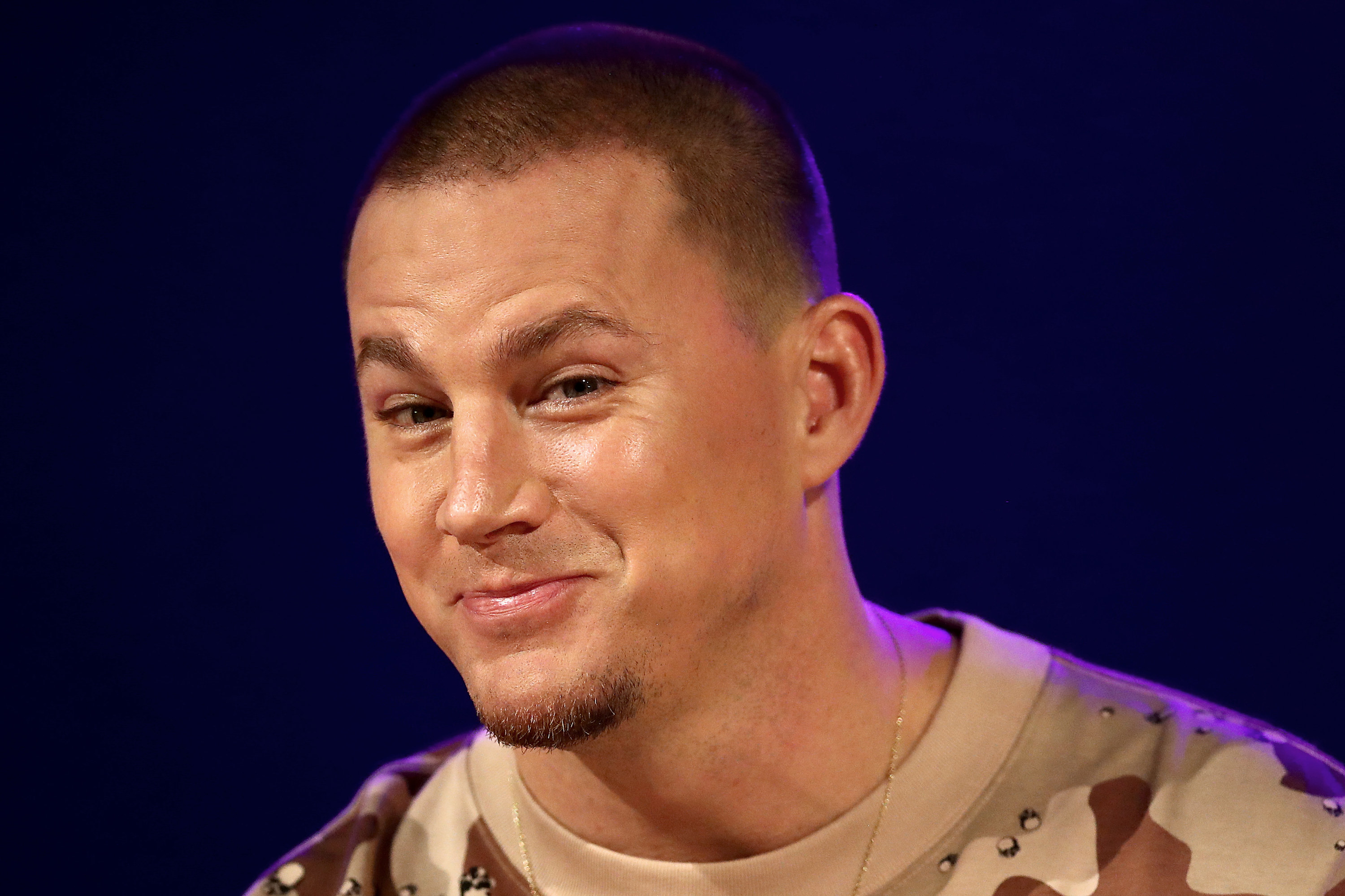 Channing smirks during an appearance