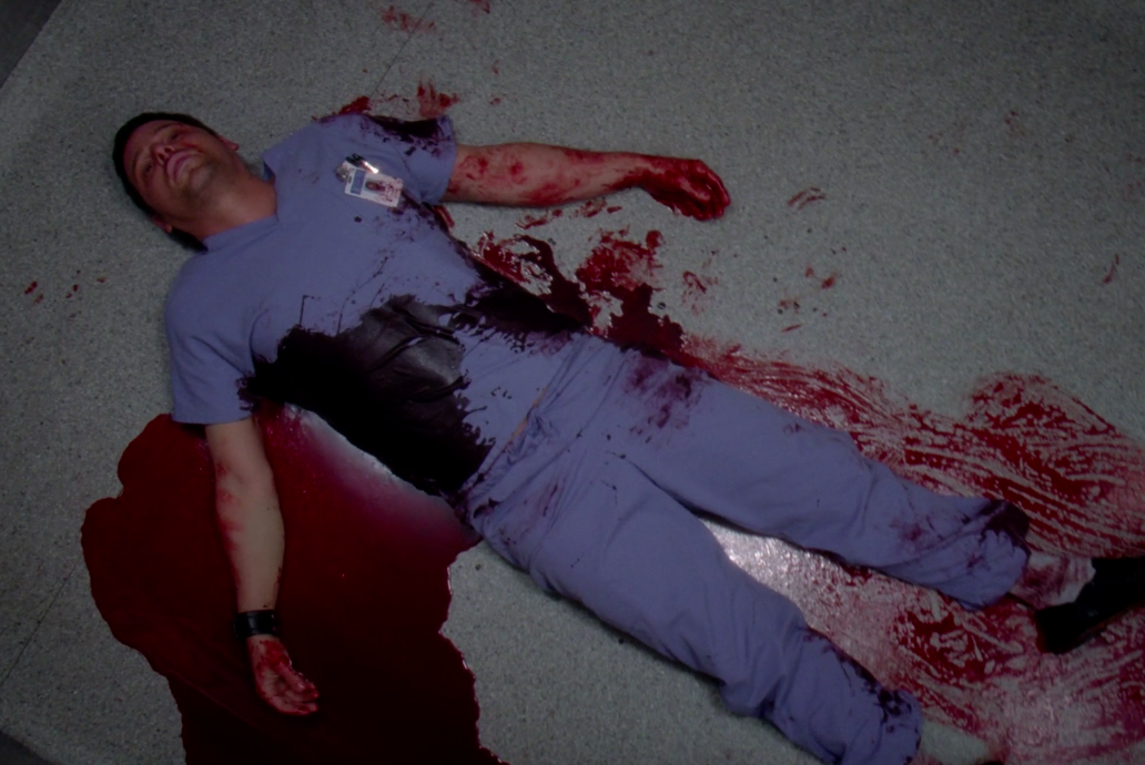 """Alex from """"Grey's Anatomy"""" lying on the floor in his blood after getting shot"""