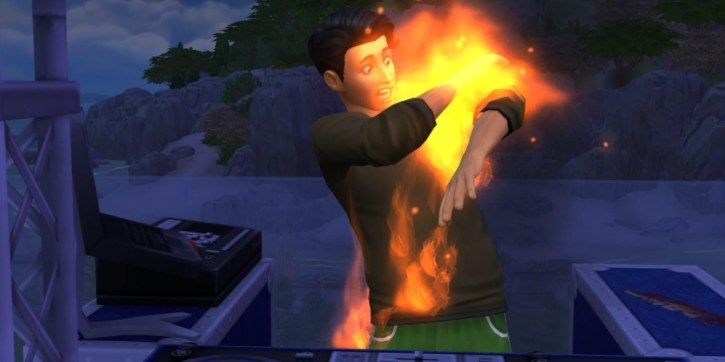 a sim with his shirt on fire