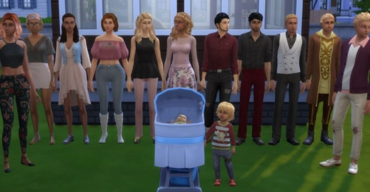 an entire generation of sims standing around a baby in a crib
