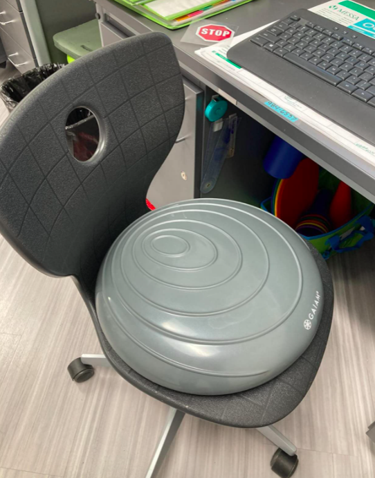 A customer review photo of a close up of the cushion on an office chair