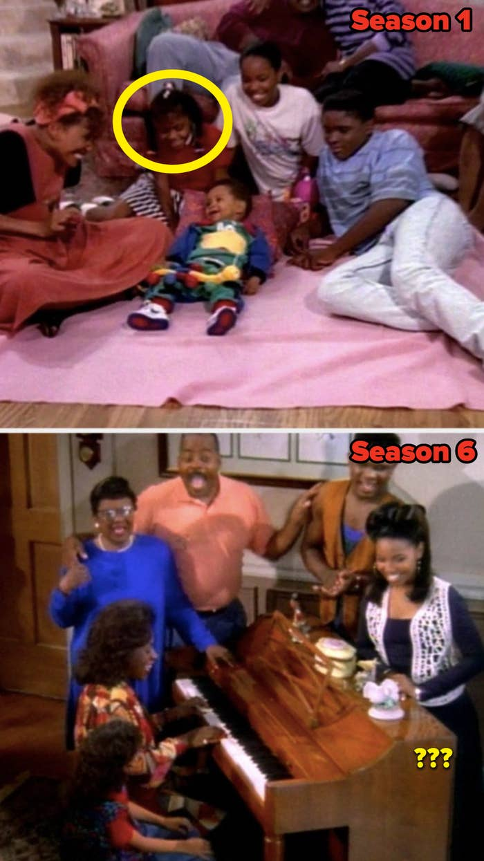 """In the Season 1 """"Family Matters"""" theme song, Judy Winslow is present, but she's not in the Season 6 theme song"""