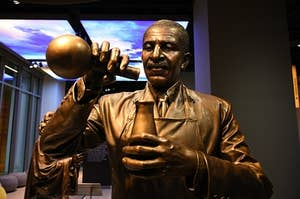 A statue of inventor George Washington Carver