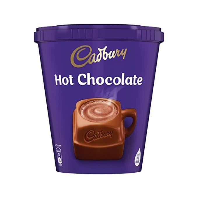 Cadbury Hot Chocolate powder in a deep purple container.