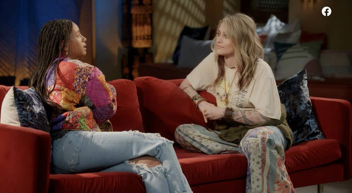 Willow Smith and Paris Jackson sitting on a couch together on Red Table Talk