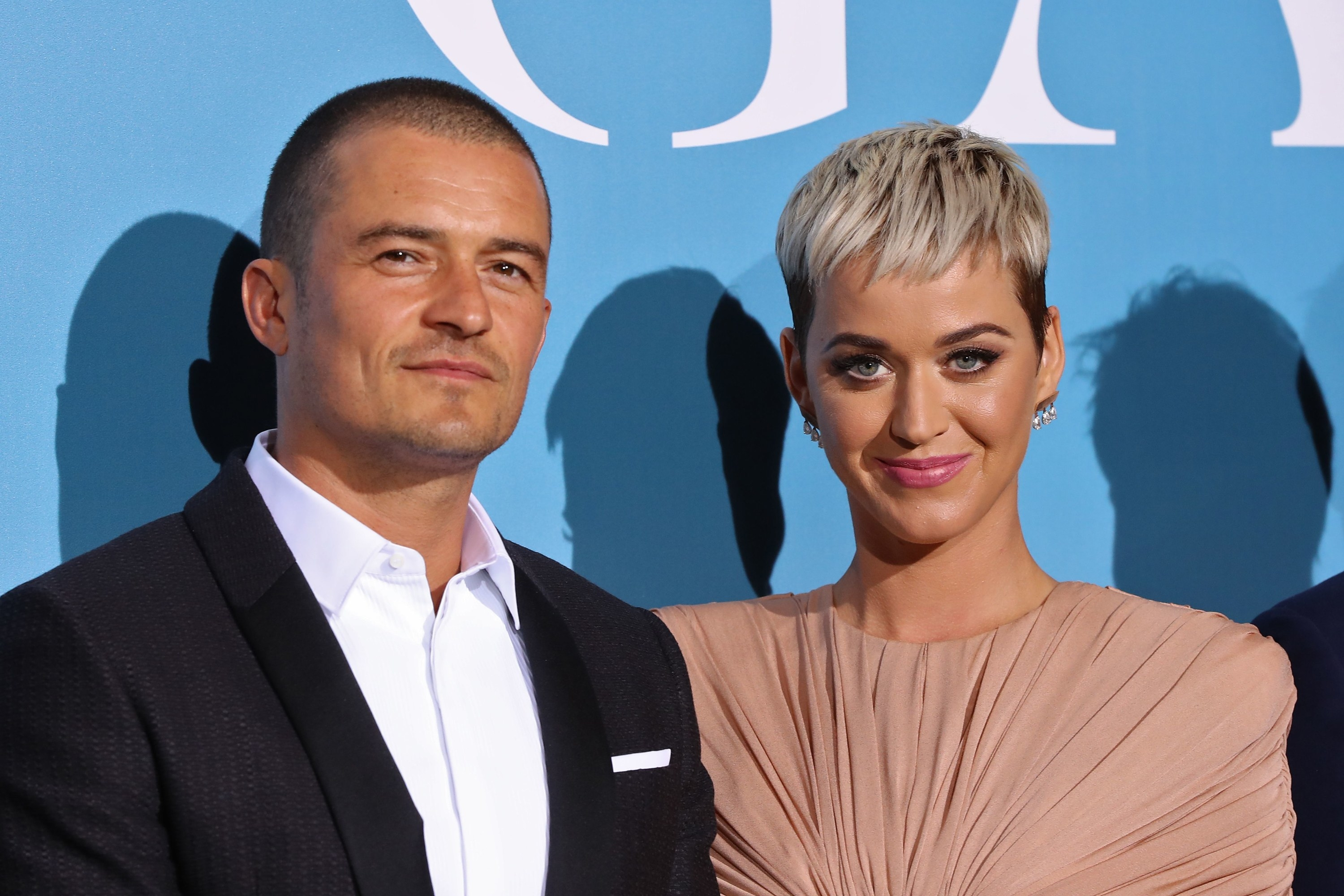 British actor Orlando Bloom and US singer Katy Perry pose upon their arrival at the 2nd Monte-Carlo Gala for the Global Ocean 2018 held in Monaco on September 26, 2018