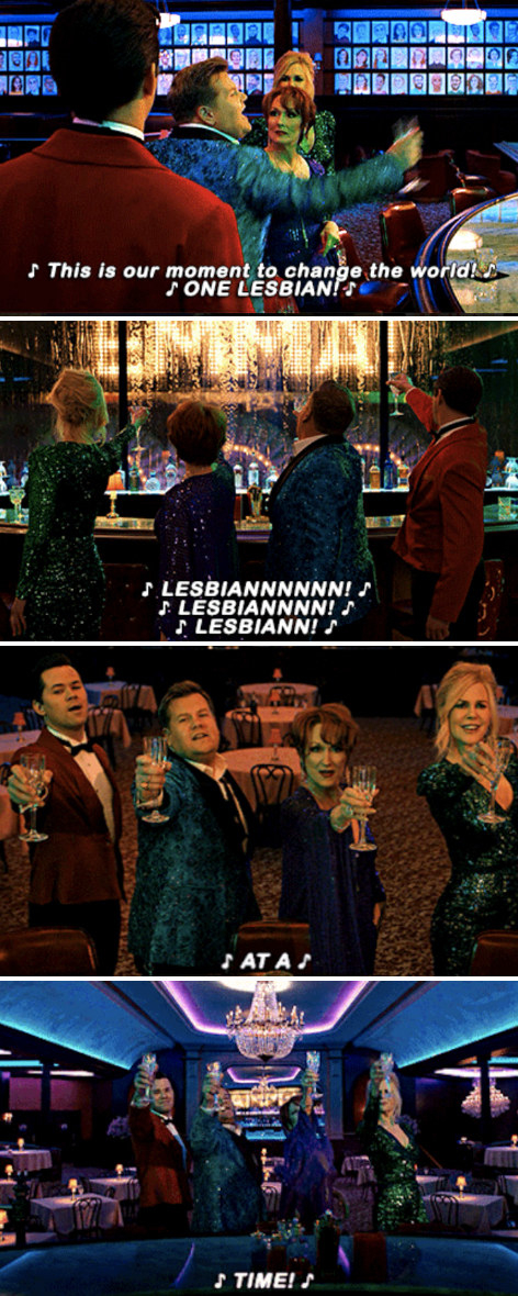 """Dee Dee, Barry, Angie, and Trent singing: """"This is our moment to change the world! One lesbian at a time!"""""""