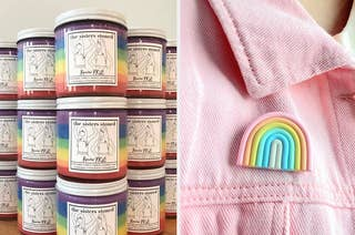 on left, rainbow-filled soy scented candles. on right, rainbow-shaped pin on pink denim jacket