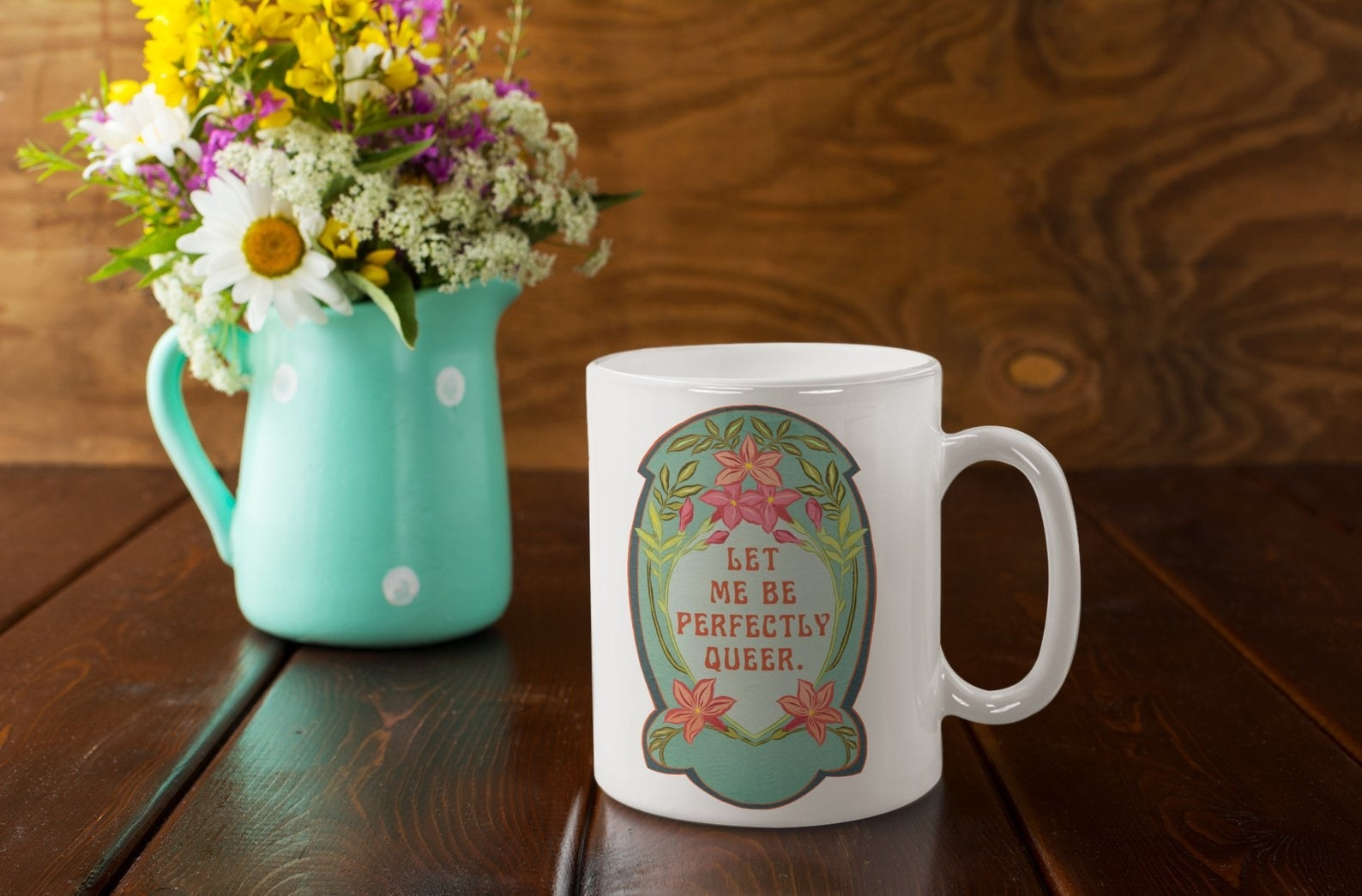 the let me be perfectly queer mug