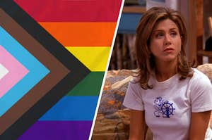 The LGBTQ+ official Pride flag and Rachel Green sits on the couch in Monica's apartment while wearing a blank look on her face.