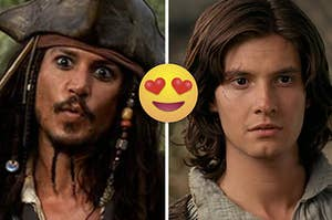 Jack Sparrow has his lips pursed fully and Prince Caspian looks worriedly at someone off screen.
