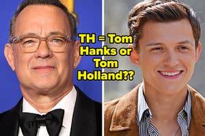 Tom Hanks wears a black suit with a black bow tie and Tom Holland wears a brown suede jacket over a blue and white striped shirt.