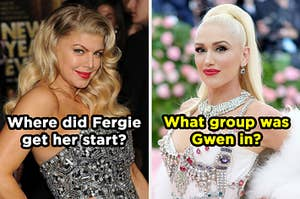 """On the left, Fergie labeled, """"Where did Fergie get her start?"""" and on the right, Gwen Stefani labeled """"What group was Gwen in?"""""""