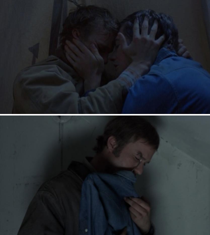 Jack and Ennis embracing; Ennis holding Jack's shirt after he's dead