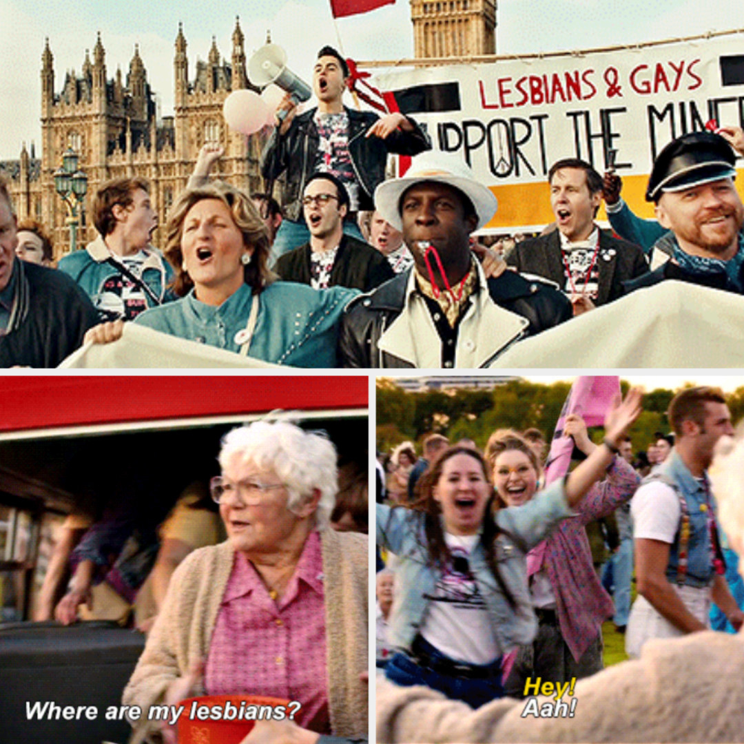 """Everyone protesting in the streets, holding signs saying: """"Lesbians and gays support the miners;"""" Gwen saying: """"Where are my lesbians?"""""""