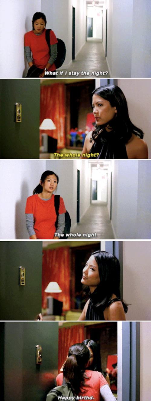 Vivian asking to stay the night at Wilhelmina's apartment