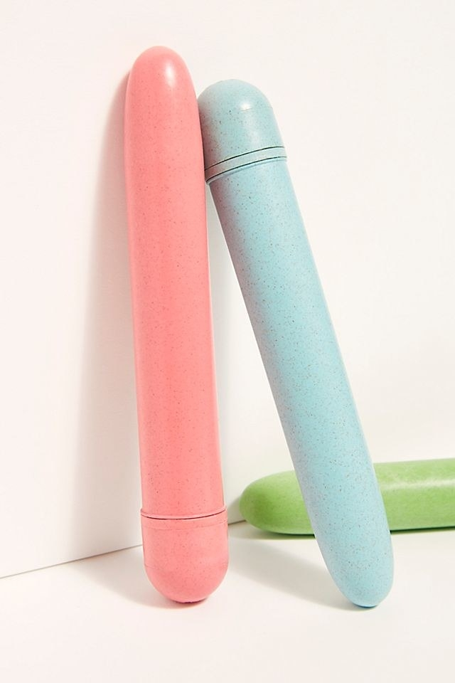 Pink, blue and green vibrator