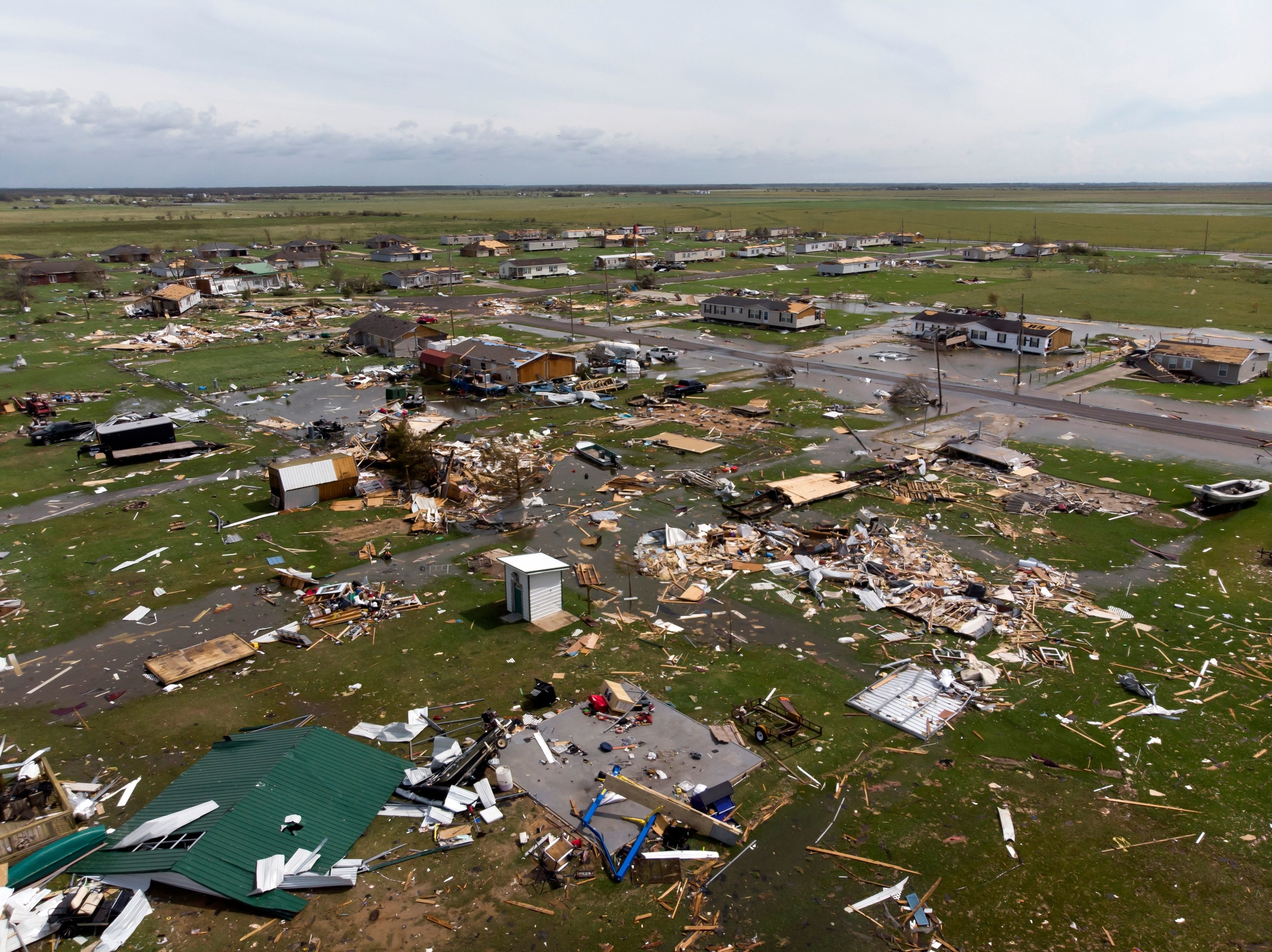 A vast panorama showing many completely destroyed homes