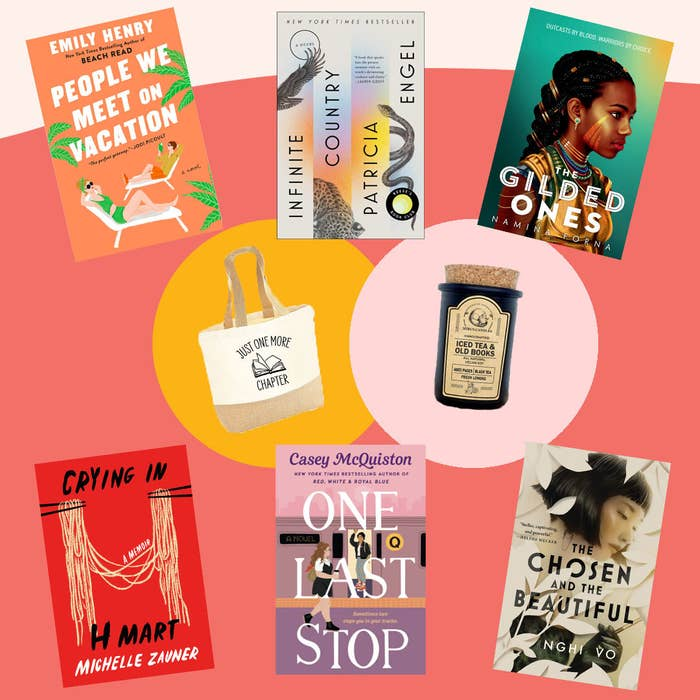 """The prizes: people we meet on vacation, infinite country, the gilded ones, crying in h mart, one last stop, the chosen and the beautiful, a tote bag that reads """"just one more chapter with a book icon,"""" and a candle scented with iced tea and books"""